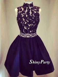 Round Neck Backless Black Short Lace Prom Dresses, Short Lace Graduation Dresses, Homecoming Dresses
