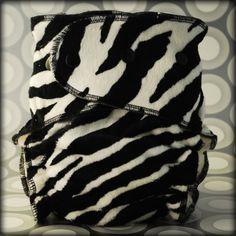 Black Zebra Minky OS Fitted Cloth Diaper