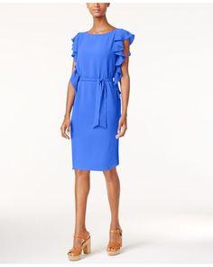 Michael Kors   Blue Michael Petite Flounce-sleeve Crepe Dress   Lyst