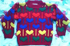 80s Heart Sweater 3T4T by lishyloo on Etsy
