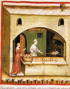 Le Boulanger enfourne ses petits pains ronds
