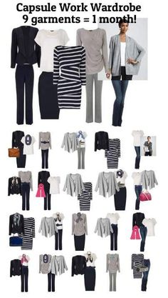 Capsule Work Wardrobe - 9 outfits = 1 month at the office! #WardrobeBasics
