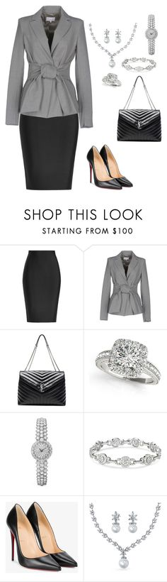 """Chic Formal Outfit"" by carol-youssef ❤ liked on Polyvore featuring Roland Mouret, Patrizia Pepe, Yves Saint Laurent, Allurez, Christian Louboutin and Bling Jewelry"