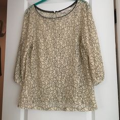 LOFT lacy top Ivory and black floral lace. 3/4 sleeves. Buttons all the way down the back LOFT Tops Blouses