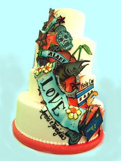 tattoo themed wedding cakes! Awesome!
