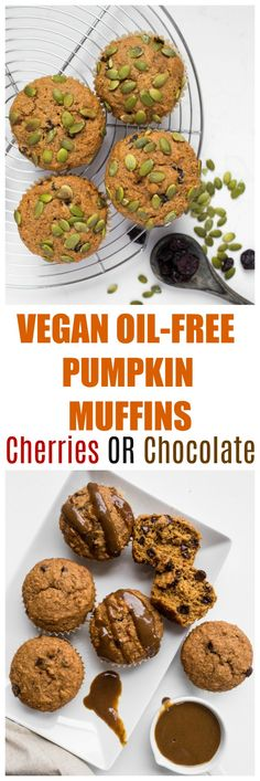 Vegan Pumpkin Muffins with dried cherries and pumpkin seeds are easy to make, dairy-free, rich in pumpkin spices, oil-free, nut-free and are low-fat and healthy! There is also a gluten-free version! #vegan #pumpkin #muffins