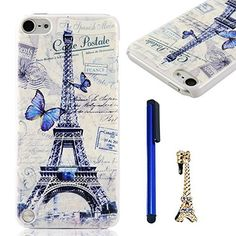 iPod Case iPod Touch 5 Case MOLLYCOOCLE Fashion Style PC Cover White Phone Back Skin Shell with Blue Butterfly and Eiffel Tower Pattern for iPod Touch 5 + 1x Stylus Pen (Dark Blue)+ 1x Eiffel Tower Shaped Anti-dust Plug (Golden), http://www.amazon.com/dp/B00NIGRYHK/ref=cm_sw_r_pi_awdl_avR4ub1T4Q811