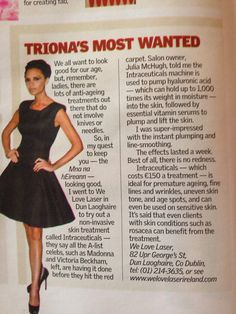 We love laser featured in Triona's most wanted Sunday 16th March. #intraceuticals