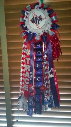 red, white and navy mum, homecoming garter, baseball garter, baseball mum