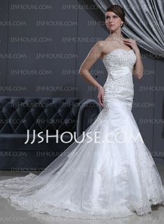 Wedding Dresses - $215.99 - Mermaid Sweetheart Cathedral Train Satin Tulle Wedding Dress With Lace Beadwork (002000078) http://jjshouse.com/Mermaid-Sweetheart-Cathedral-Train-Satin-Tulle-Wedding-Dress-With-Lace-Beadwork-002000078-g78