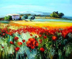 """"""" Haute Provence by Michel Vezinet - Beautiful, Colorful Painting! Watercolor Landscape, Landscape Art, Landscape Paintings, Seascape Art, Abstract Art, Spring Art, Colorful Paintings, Henri Matisse, Fine Art"""