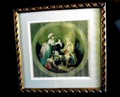 Signed Lithograph in Frame Victorian Family Scene Green Colors Gold Frame signed by Moreland