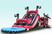 Pirate Slide Hot or cold, by itself, or in combination with the Pirate bounce house this is one of our favorites. There's no shortage of space to run lots of children and adults through this attraction. Huge double lane slide with a standard safety bumper at the bottom. Or we can convert the bottom into a water pool for when the weather gets hot. When the temps rise misters at the top can be turned on to keep you cool and the slide wet and wild. http://stgeorgefun.com/