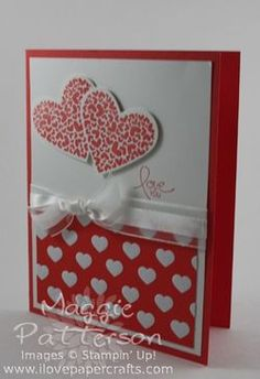 Use cupcakes instead of hearts. Valentine Greeting Cards, Greeting Cards Handmade, Valentine Day Love, Valentine Crafts, Scrapbook Cards, Scrapbooking, Beautiful Handmade Cards, Heart Cards, Paper Cards