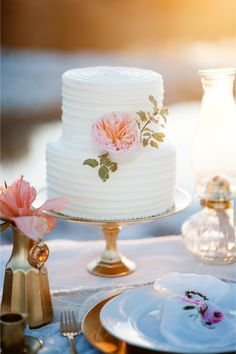 Peony adorned wedding #cake | Kristina Curtis Photography | See more on http://burnettsboards.com/2014/01/mother-daughter-inspiration-shoot/