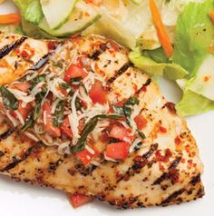 Salad dressings and vinaigrettes are great marinades for poultry. Grilled Bruschetta Chicken is quick, easy and crowd pleasing. The recipe is easy to double or triple making it perfect for summer parties.