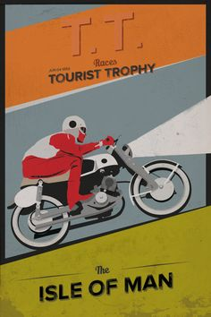 1959 Isle of Man TT motorbike race poster ad by KinneLian on Etsy, $20.00