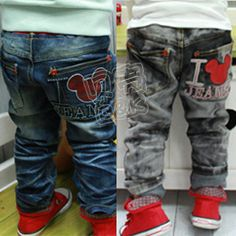 Aliexpress.com : Buy 2013 New Arrival Fashion Cute Mickey Mouse Long Pants Jeans Trousers for Children Boys Girls Kids Children's Clothing from Reliable jeans children suppliers on beike's store