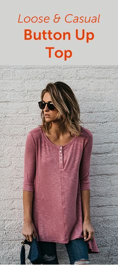 Loose Casual Button Up Top