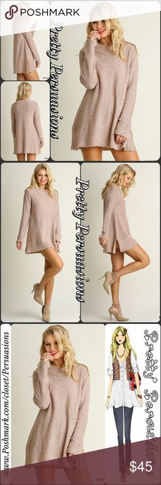 "NWT Blush Mauve Cozy Mock Neck Tunic Sweater NWT Blush Mauve Mock Neck Cozy Tunic Sweater  Available in S, M, L Measurements taken from a size small  Length: 28.5"" Bust: 40"" Waist: 48""  Cotton Blend  Features  • cozy, super soft, warm, breathable material w/stretch • mock neck • long sleeves • slightly ribbed bottom hemline w/5"" side slits  * Also available in Charcoal in a separate listing   Bundle discounts available  No pp or trades  Item # 1/101010450BTS Pretty Persuasions Sweaters"