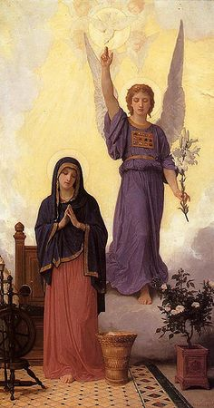 Annunciation 10  The Angel Gabriel's announcement to the young virgin Mary,