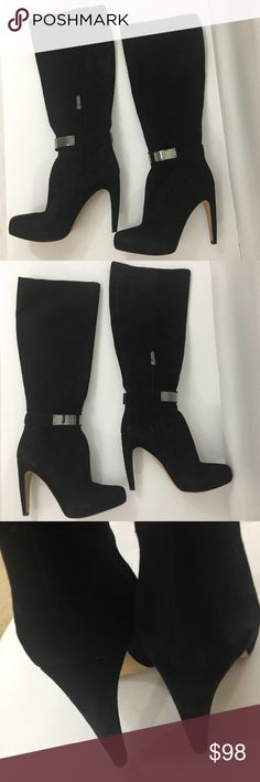 Sam Edelman boots black suede 8 1/2 Good condition some wear not bad heel 4 1/2 inches height of boot 16 inches to the heel. Sam Edelman Shoes Heeled Boots