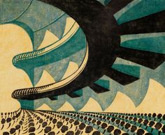 Concert Hall, 1929, by Sybil Andrews (Canadian, 1898–1992). Linocut on paper | Glenbow Museum