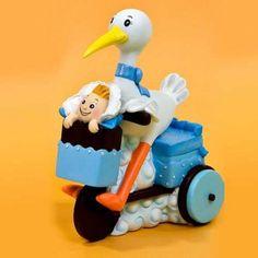 Figurita Resina Cigüeña Triciclo