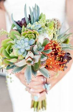 """Once you see a bouquet of succulents it's easy to say """"""""I do"""""""". Whether it's all succulents or succulents with mixed flowers it'll be a bouquet to remember. Bouquet Bride, Wedding Bouquets, Dress Wedding, Non Flower Bouquets, Bouquet Flowers, Table Flowers, Floral Wedding, Wedding Colors, Wedding Flowers"""