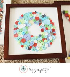 DIY Kid bedroom, colored buttons, initial.