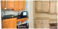 Before and after remodel. Great job Iron Horse! #antiquewhitecabinets #ornamentalbrowngranite #IronHorseGranite