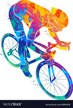 Abstract cyclist on a race track from a splash of watercolors. vector illustration of paints. Retro Bicycle, Bicycle Art, Bicycle Design, Bicycle Drawing, Bmx Bikes, Cycling Bikes, Sport Bikes, Cycle Painting, Abstract