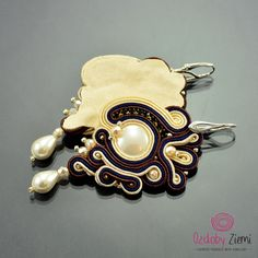 Soutache Earrings Dewi Air White Soutache от OzdobyZiemi на Etsy