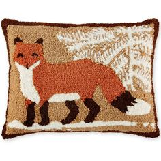 Martha Stewart Collection Winter and Animals Decorative Pillow... ($40) ❤ liked on Polyvore featuring home, home decor, fox, fox home decor, martha stewart and martha stewart home decor