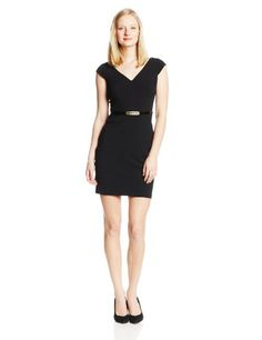 SEQUIN HEARTS BY MY MICHELLE JUNIORS SIMPLY SLENDER CAP SLEEVE BELTED DRESS