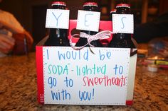 "I'd be ""soda""lighted - answer to dance invitation."