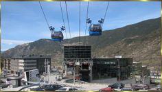Take the gondola up to the platform from Andorra la Vella, the mini-state of Andorra, to get an overview of the city Skiing, France, City, World, Places, Cable, Platform, Travel, Andorra