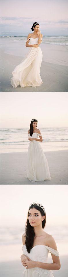 off the shoulder beach a-line/princess long chiffon wedding dress