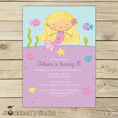 Blonde Mermaid Birthday Party Printable Invitation