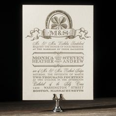 Created with vintage Irish style, Antique Luck is a vintage wedding invitation with rustic charm - ideal for a wedding with antiques and handmade touches.