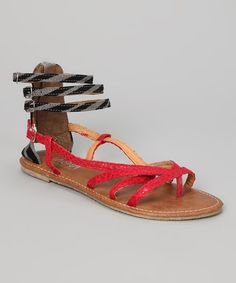 Take a look at this Red & Black Gladiator Sandal by Shoes of Soul on #zulily today!