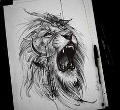 Roaring like a lion! Roaring like a lion! Leo Tattoos, Future Tattoos, Animal Tattoos, Body Art Tattoos, Sleeve Tattoos, Horse Tattoos, Tattoo Hip, Celtic Tattoos, Chest Tattoo