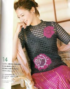 Wonderful crochet tops and wraps, charts included (lots and lots! Crochet Cross, Filet Crochet, Irish Crochet, Crochet Lace, Knitting Magazine, Crochet Magazine, Crochet Blouse, Irish Lace, Crochet Clothes