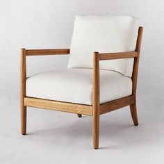 Ladder Back Wood Arm Accent Chair Cream - Threshold Designed With Studio McGee : Target Living Room Seating, My Living Room, Living Room Chairs, Living Area, Living Spaces, Cozy Living, Wood Arm Chair, Upholstered Arm Chair, Estilo Joanna Gaines