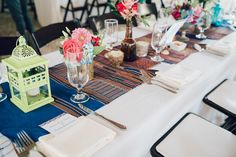 Laos inspired wedding Maggie Conley Photo Mystic Boast Shed Wedding Coastal Gourmet Catering Rectangle Wedding Tables, Long Table Wedding, Shed Wedding, Boat Shed, Centerpieces, Table Decorations, Laos, Catering, Garland
