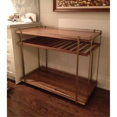 "BCRT01 | custom bar cart in solid walnut and antique brass | Dimension: 42""L x 22""W x 34""H"