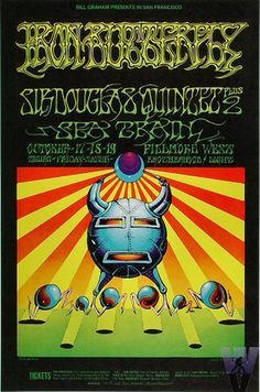 Iron Butterfly, Sir Douglas Quintet and Seatrain, at the Fillmore West in beautiful San Francisco. Poster by Victor Moscoso & Rick Griffin. Thanks, Professor Poster. Rock Posters, Band Posters, Music Posters, Vintage Concert Posters, Vintage Posters, Jimi Hendrix, Beatles, Rock N Roll, Wes Wilson