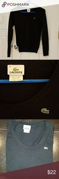 Lacoste cotton sweater This is a rePosh Lacoste sweater in great condition. It is too small for me and would be more of an XXS /0. I am a size 2. Super cute with a feminine small scoop neck. Color is best in the first two photos without flash. Lacoste Sweaters Crew & Scoop Necks