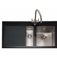 caple vitrea glass sink 15 bowl vt150bkl left hand drainer black 458 - Glass Sink Kitchen