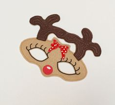 Machine Embroidery Design, Reindeer mask in the hoop Child size for little girls